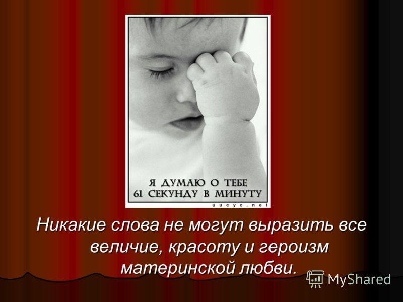 Никакие слова не могут выразить все величие, красоту и героизм материнской любви.