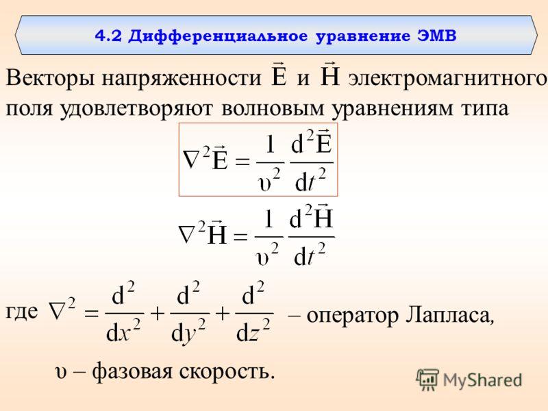 4.2 Дифференциальное уравнение ЭМВ Векторы напряженностии поля удовлетворяют волновым уравнениям типа электромагнитного где – оператор Лапласа, υ – фазовая скорость.