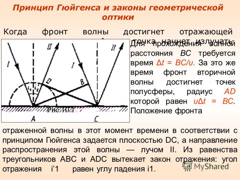 Принцип Гюйгенса и законы геометрической оптики Когда фронт волны достигнет отражающей поверхности в точке А, эта точка начнет излучать вторичную волну. Рис.10.1 Для прохождения волной расстояния ВС требуется время Δt = BC/υ. За это же время фронт вт