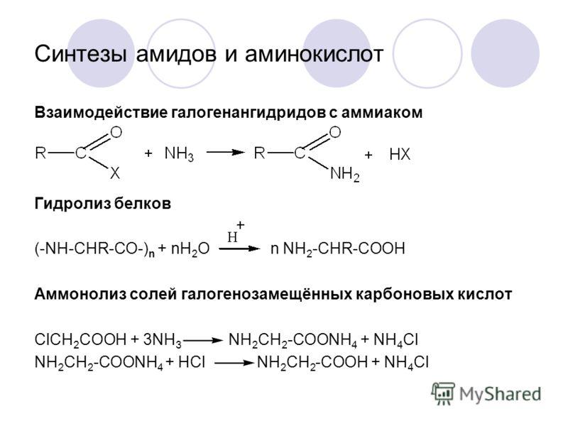 Синтезы амидов и аминокислот Взаимодействие галогенангидридов с аммиаком Гидролиз белков (-NH-CHR-CO-) n + nH 2 O n NH 2 -CHR-COOH Аммонолиз солей галогенозамещённых карбоновых кислот ClCH 2 COOH + 3NH 3 NH 2 CH 2 -COONH 4 + NH 4 Cl NH 2 CH 2 -COONH