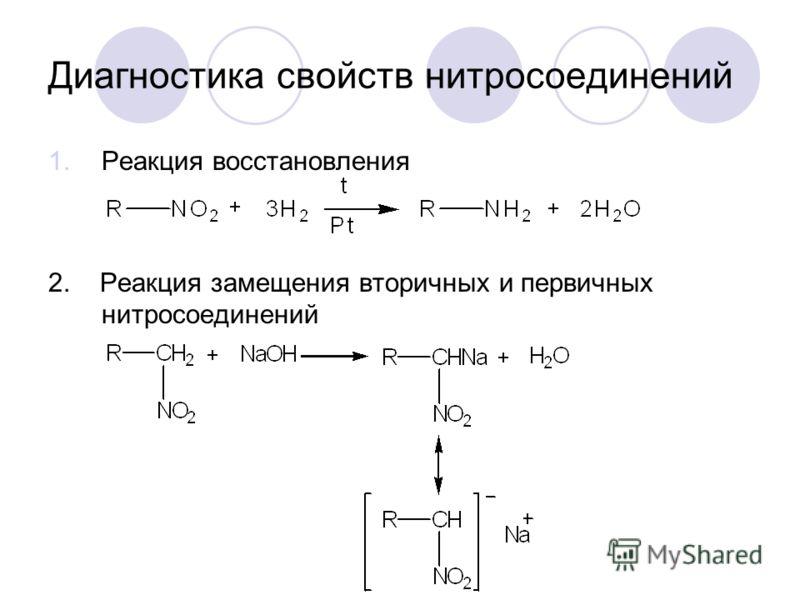 Диагностика свойств нитросоединений 1.Реакция восстановления 2. Реакция замещения вторичных и первичных нитросоединений