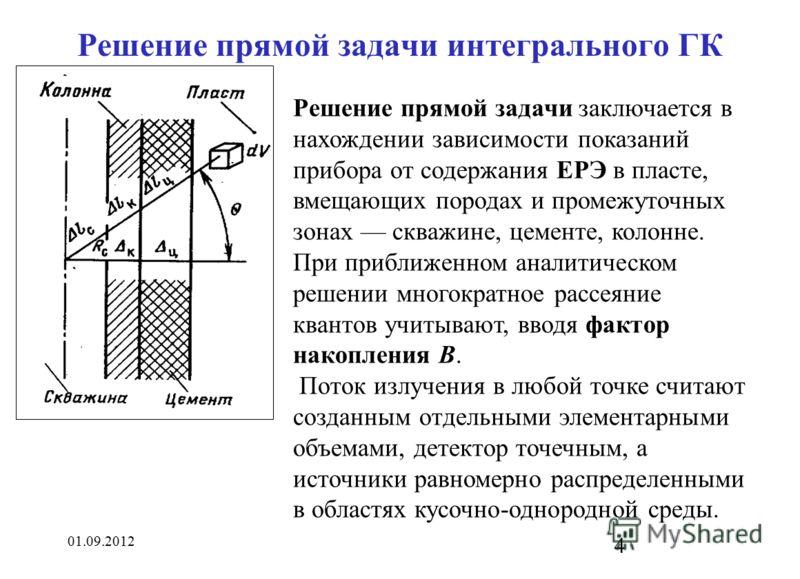 01.09.2012 4 Решение прямой задачи интегрального ГК Решение прямой задачи заключается в нахождении зависимости показаний прибора от содержания ЕРЭ в пласте, вмещающих породах и промежуточных зонах скважине, цементе, колонне. При приближенном аналитич