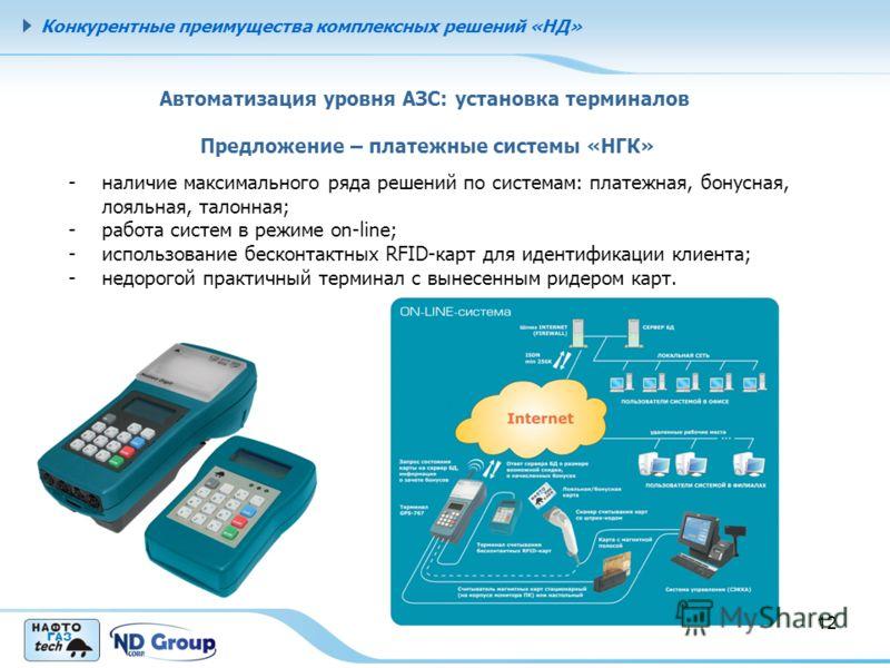 Конкурентные преимущества комплексных решений «НД» 12 Автоматизация уровня АЗС: установка терминалов Предложение – платежные системы «НГК» -наличие максимального ряда решений по системам: платежная, бонусная, лояльная, талонная; -работа систем в режи