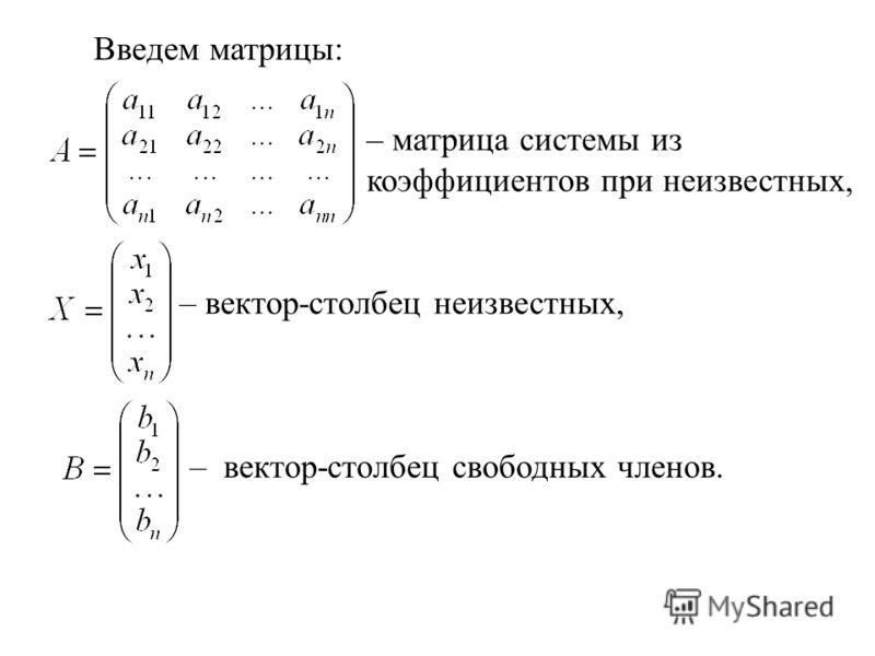 Введем матрицы: – матрица системы из коэффициентов при неизвестных, – вектор-столбец неизвестных, – вектор-столбец свободных членов.