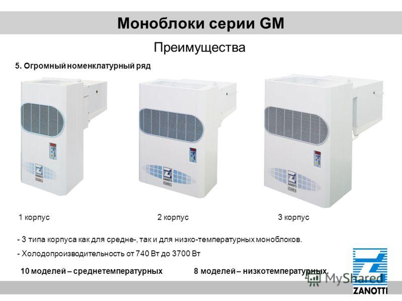 Моноблоки серии GM Преимущества 5. Огромный номенклатурный ряд 1 корпус 2 корпус 3 корпус - 3 типа корпуса как для средне-, так и для низко-температурных моноблоков. - Холодопроизводительность от 740 Вт до 3700 Вт 10 моделей – среднетемпературных 8 м