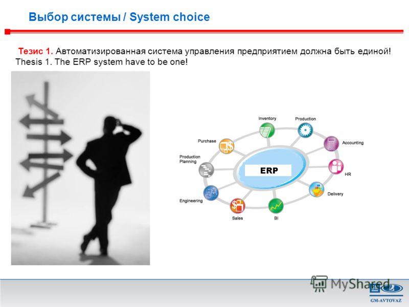 Тезис 1. Автоматизированная система управления предприятием должна быть единой! Thesis 1. The ERP system have to be one! Выбор системы / System choice