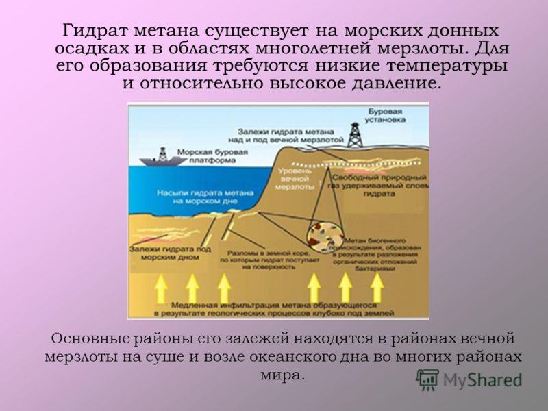 Основные районы его залежей находятся в районах вечной мерзлоты на суше и возле океанского дна во многих районах мира. Гидрат метана существует на морских донных осадках и в областях многолетней мерзлоты. Для его образования требуются низкие температ
