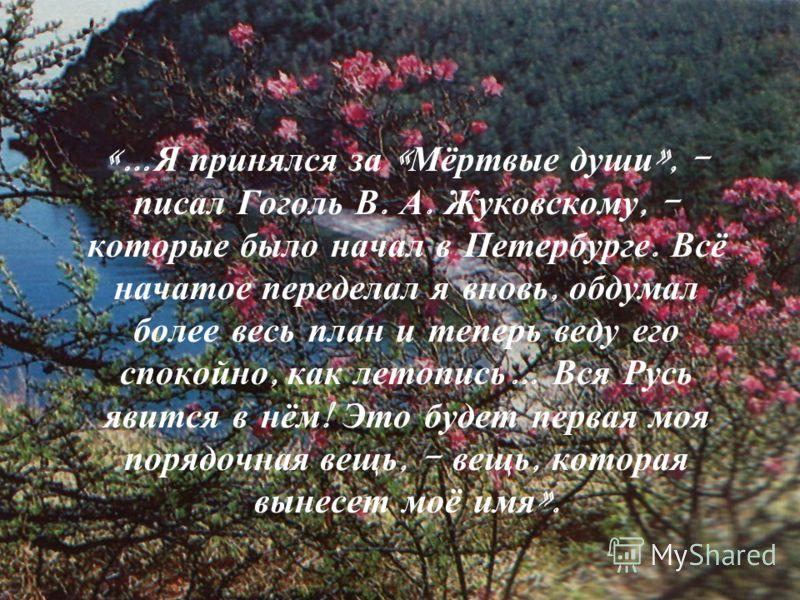 «… Я принялся за « Мёртвые души », - писал Гоголь В. А. Жуковскому, - которые было начал в Петербурге. Всё начатое переделал я вновь, обдумал более весь план и теперь веду его спокойно, как летопись … Вся Русь явится в нём ! Это будет первая моя поря