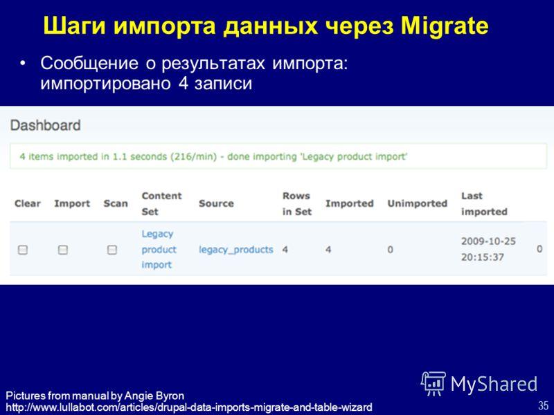 35 Шаги импорта данных через Migrate Сообщение о результатах импорта: импортировано 4 записи Pictures from manual by Angie Byron http://www.lullabot.com/articles/drupal-data-imports-migrate-and-table-wizard