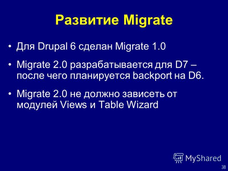 38 Развитие Migrate Для Drupal 6 сделан Migrate 1.0 Migrate 2.0 разрабатывается для D7 – после чего планируется backport на D6. Migrate 2.0 не должно зависеть от модулей Views и Table Wizard