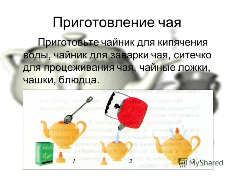 Приготовление чая Приготовьте