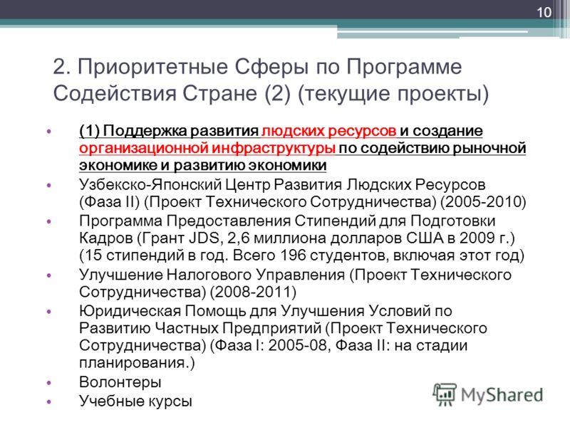 2. Приоритетные Сферы по Программе Содействия Стране (2) (текущие проекты) (1) Поддержка развития людских ресурсов и создание организационной инфраструктуры по содействию рыночной экономике и развитию экономики Узбекско-Японский Центр Развития Людски
