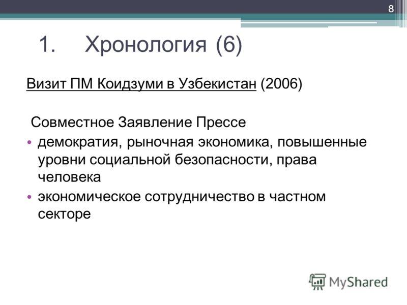 1. Хронология (6) Визит ПМ Коидзуми в Узбекистан (2006) Совместное Заявление Прессе демократия, рыночная экономика, повышенные уровни социальной безопасности, права человека экономическое сотрудничество в частном секторе 8
