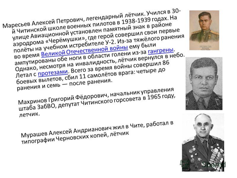 Маресьев Алексей Петрович, легендарный лётчик. Учился в 30- й Читинской школе военных пилотов в 1938-1939 годах. На улице Авиационной установлен памятный знак в районе аэродрома «Черёмушки», где герой совершил свои первые полёты на учебном истребител
