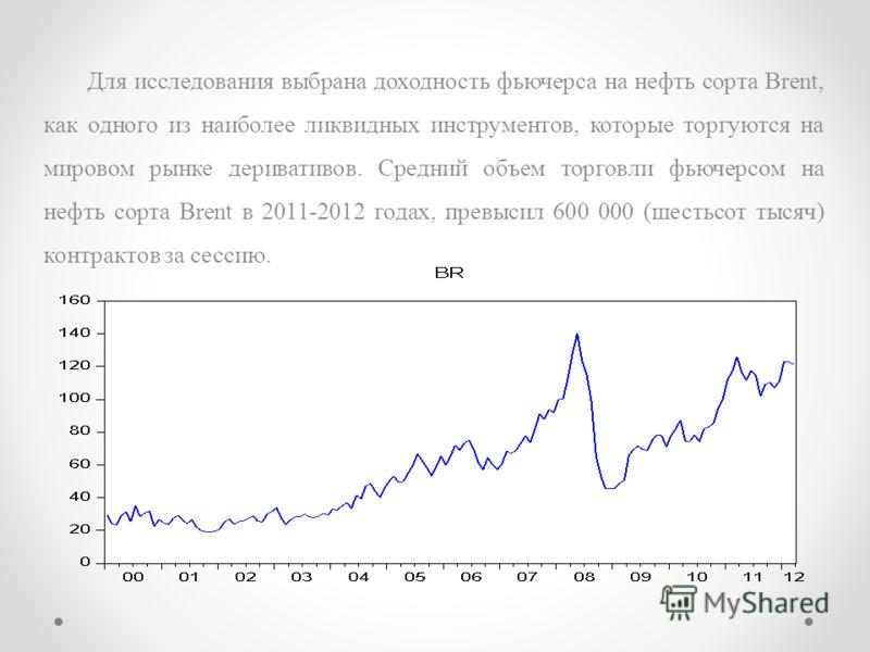 Для исследования выбрана доходность фьючерса на нефть сорта Brent, как одного из наиболее ликвидных инструментов, которые торгуются на мировом рынке деривативов. Средний объем торговли фьючерсом на нефть сорта Brent в 2011-2012 годах, превысил 600 00