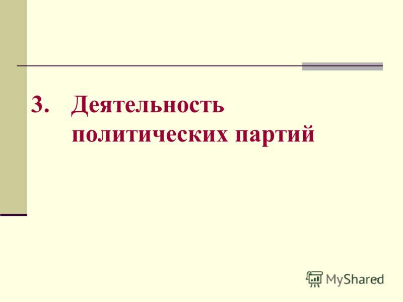 17 3. Деятельность политических партий