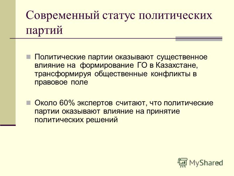 18 Современный статус политических партий Политические партии оказывают существенное влияние на формирование ГО в Казахстане, трансформируя общественные конфликты в правовое поле Около 60% экспертов считают, что политические партии оказывают влияние