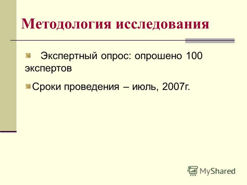 3 Методология исследования Экспертный опрос: опрошено 100 экспертов Сроки проведения – июль, 2007г.