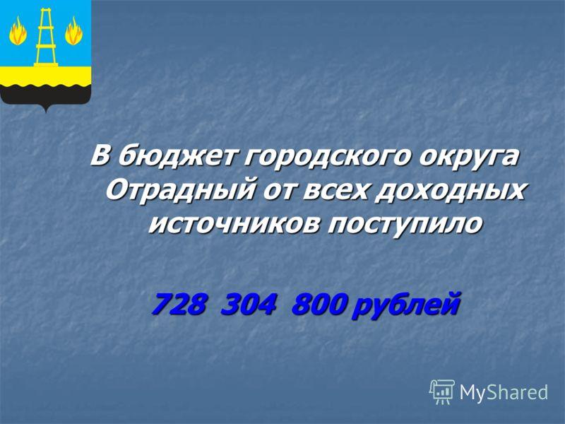 В бюджет городского округа Отрадный от всех доходных источников поступило 728 304 800 рублей