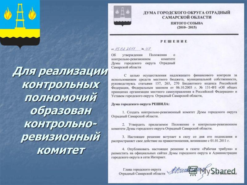 Для реализации контрольных полномочий образован контрольно- ревизионный комитет