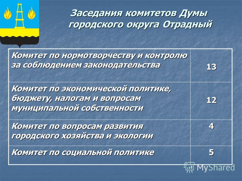 Заседания комитетов Думы городского округа Отрадный Комитет по нормотворчеству и контролю за соблюдением законодательства 13 Комитет по экономической политике, бюджету, налогам и вопросам муниципальной собственности 12 Комитет по вопросам развития го