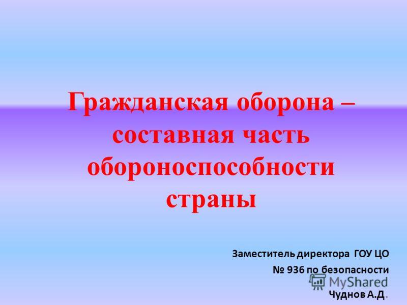 Гражданская оборона – составная часть обороноспособности страны Заместитель директора ГОУ ЦО 936 по безопасности Чуднов А.Д.