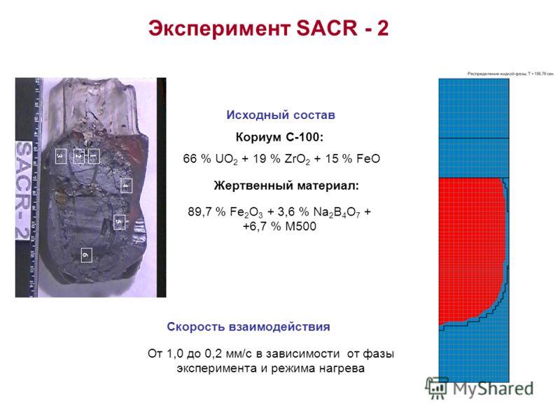 Эксперимент SACR - 2 Кориум С-100: 66 % UO 2 + 19 % ZrO 2 + 15 % FeO Жертвенный материал: 89,7 % Fe 2 O 3 + 3,6 % Na 2 B 4 O 7 + +6,7 % M500 Исходный состав Скорость взаимодействия От 1,0 до 0,2 мм/с в зависимости от фазы эксперимента и режима нагрев