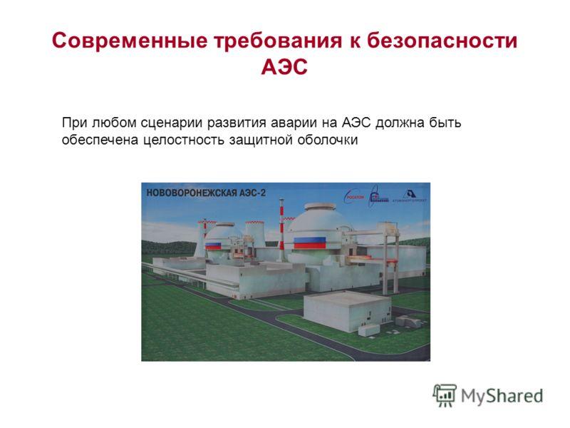Современные требования к безопасности АЭС При любом сценарии развития аварии на АЭС должна быть обеспечена целостность защитной оболочки
