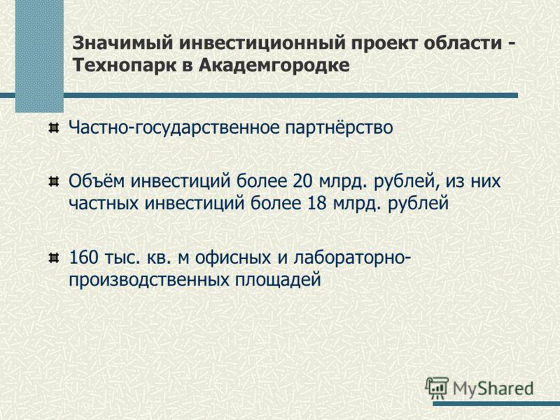Значимый инвестиционный проект области - Технопарк в Академгородке Частно-государственное партнёрство Объём инвестиций более 20 млрд. рублей, из них частных инвестиций более 18 млрд. рублей 160 тыс. кв. м офисных и лабораторно- производственных площа