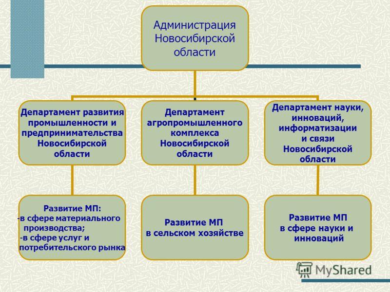 Администрация Новосибирской области Департамент развития промышленности и предпринимательства Новосибирской области Развитие МП: в сфере материального производства; в сфере услуг и потребительского рынка Департамент агропромышленного комплекса Новоси