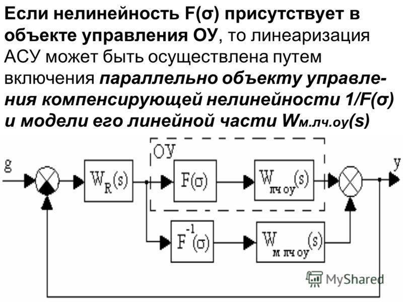 Если нелинейность F(σ) присутствует в объекте управления ОУ, то линеаризация АСУ может быть осуществлена путем включения параллельно объекту управле- ния компенсирующей нелинейности 1/F(σ) и модели его линейной части W м.лч.оу (s)