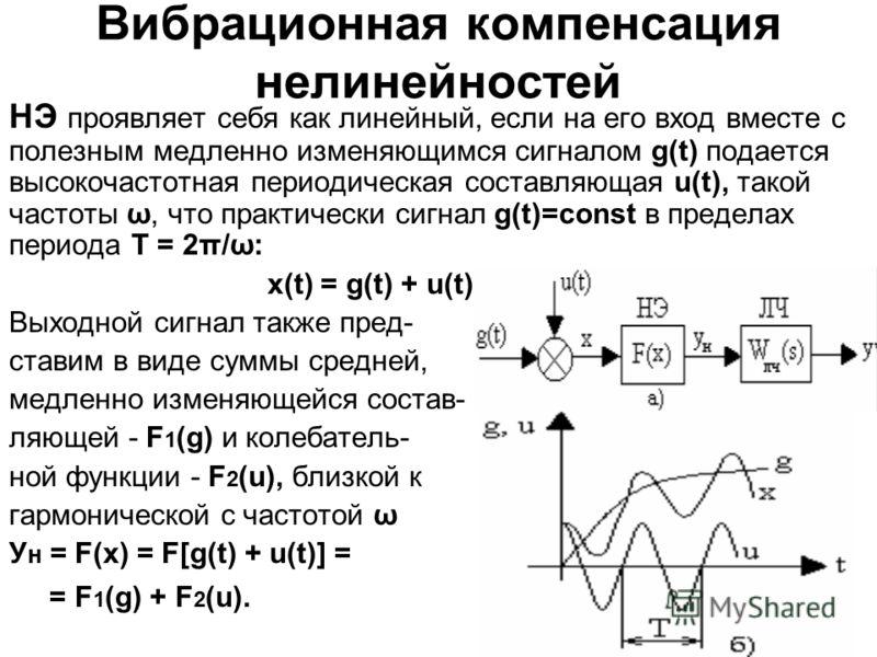 Вибрационная компенсация нелинейностей НЭ проявляет себя как линейный, если на его вход вместе с полезным медленно изменяющимся сигналом g(t) подается высокочастотная периодическая составляющая u(t), такой частоты ω, что практически сигнал g(t)=const
