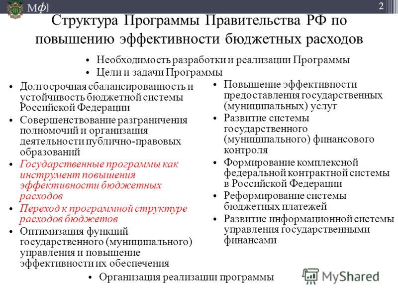 М ] ф 2 Структура Программы Правительства РФ по повышению эффективности бюджетных расходов Долгосрочная сбалансированность и устойчивость бюджетной системы Российской Федерации Совершенствование разграничения полномочий и организация деятельности пуб