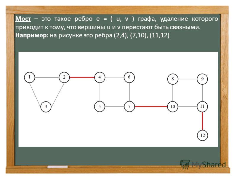 Мост – это такое ребро е = ( u, v ) графа, удаление которого приводит к тому, что вершины u и v перестают быть связными. Например: на рисунке это ребра (2,4), (7,10), (11,12)