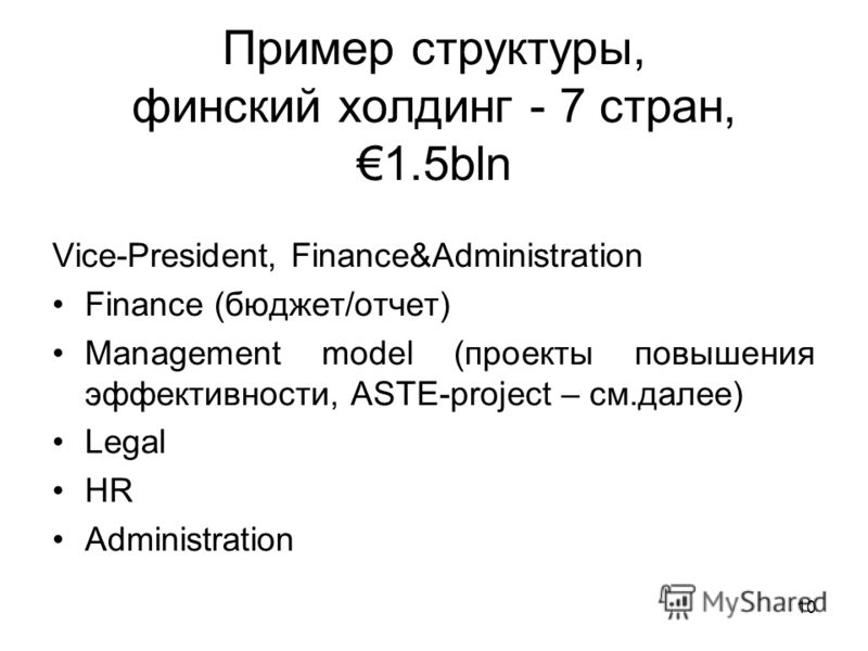 10 Пример структуры, финский холдинг - 7 стран,1.5bln Vice-President, Finance&Administration Finance (бюджет/отчет) Management model (проекты повышения эффективности, ASTE-project – см.далее) Legal HR Administration