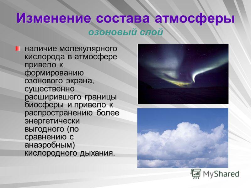 Изменение состава атмосферы озоновый слой наличие молекулярного кислорода в атмосфере привело к формированию озонового экрана, существенно расширившего границы биосферы и привело к распространению более энергетически выгодного (по сравнению с анаэроб
