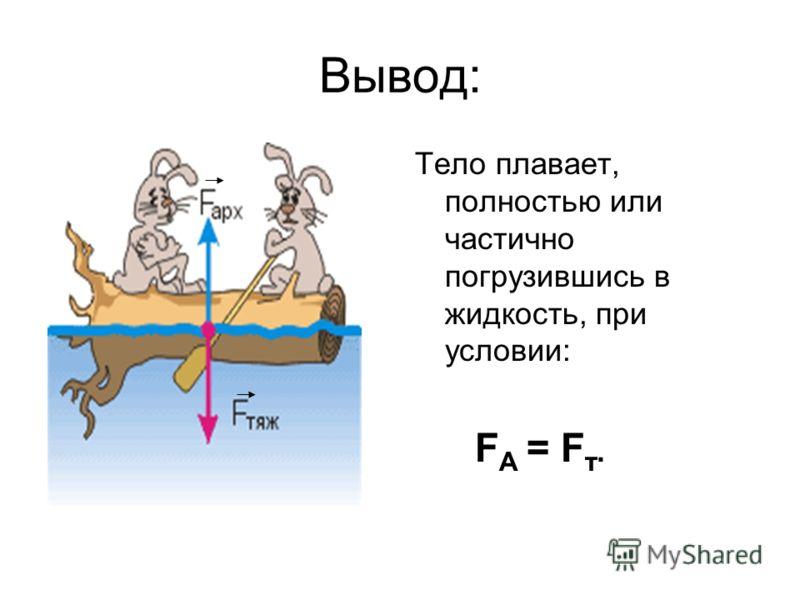 Вывод: Тело плавает, полностью или частично погрузившись в жидкость, при условии: F A = F т.