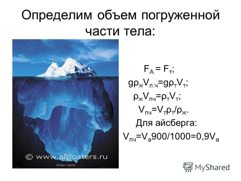 Определим объем погруженной части тела: F A = F т ; gρ ж V п.ч =gρ т V т ; ρ ж V пч =ρ т V т ; V пч =V т ρ т /ρ ж. Для айсберга: V пч =V а 900/1000=0,9V а