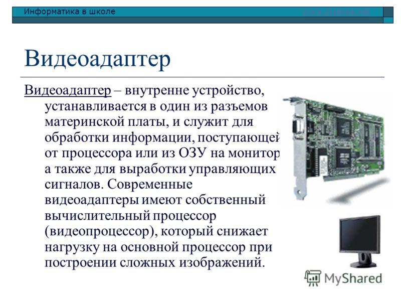 Информатика в школе www.klyaksa.netwww.klyaksa.net Видеоадаптер Видеоадаптер – внутренне устройство, устанавливается в один из разъемов материнской платы, и служит для обработки информации, поступающей от процессора или из ОЗУ на монитор, а также для