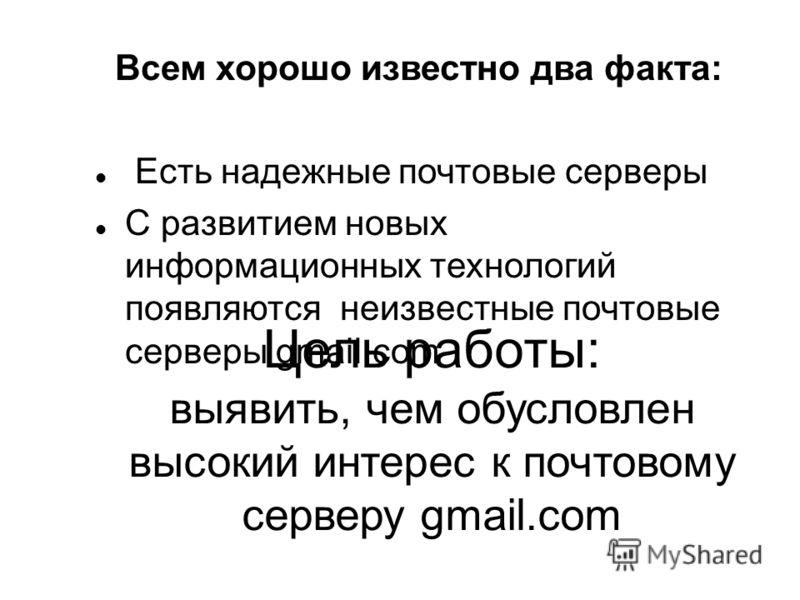 Цель работы: выявить, чем обусловлен высокий интерес к почтовому серверу gmail.com Всем хорошо известно два факта: Есть надежные почтовые серверы С развитием новых информационных технологий появляются неизвестные почтовые серверы gmail.com