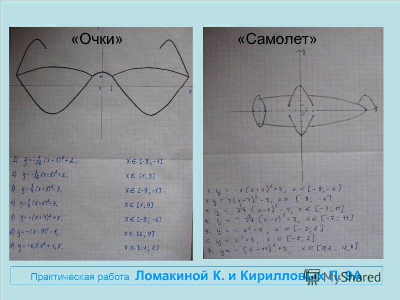 «Очки» «Самолет» Практическая работа Ломакиной К. и Кирилловых П. 9А