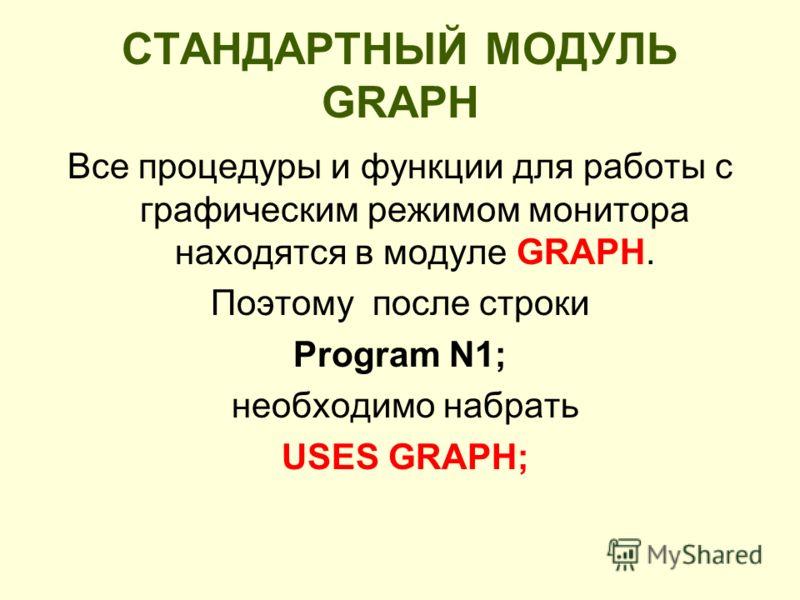 СТАНДАРТНЫЙ МОДУЛЬ GRAPH Все процедуры и функции для работы с графическим режимом монитора находятся в модуле GRAPH. Поэтому после стрoки Program N1; необходимо набрать USES GRAPH;