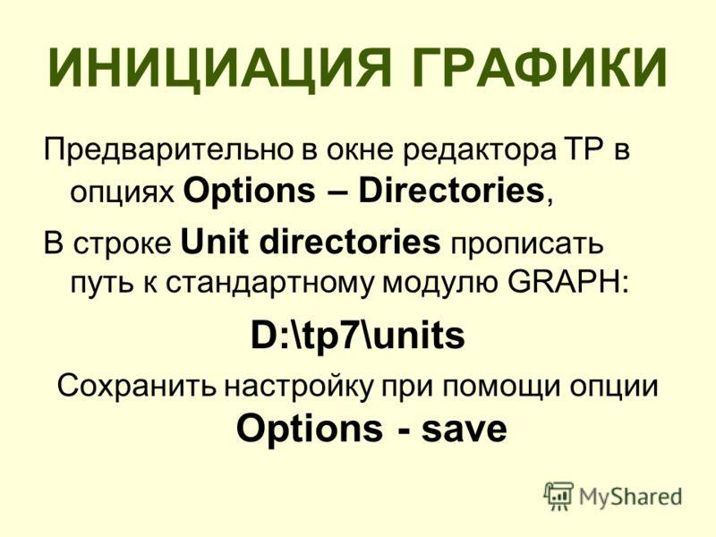 ИНИЦИАЦИЯ ГРАФИКИ Предварительно в окне редактора ТР в опциях Options – Directories, В строке Unit directories прописать путь к стандартному модулю GRAPH: D:\tp7\units Сохранить настройку при помощи опции Options - save