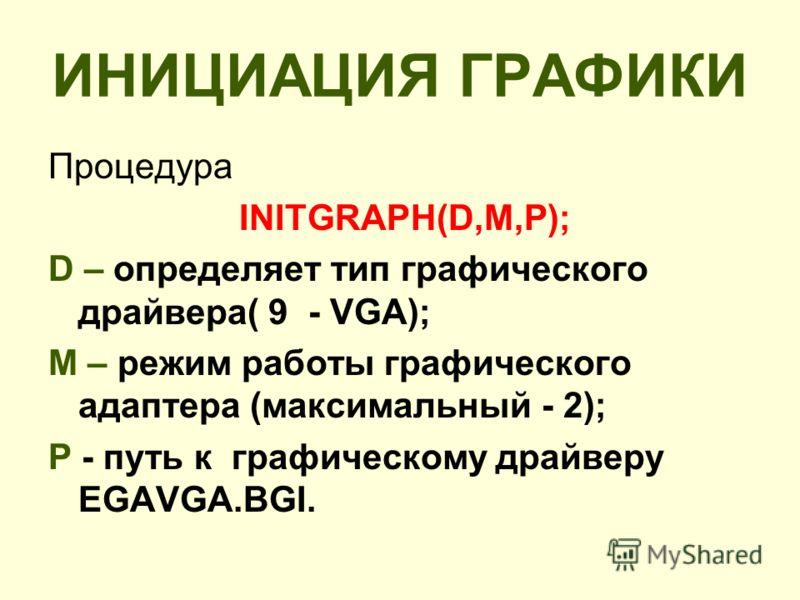 ИНИЦИАЦИЯ ГРАФИКИ Процедура INITGRAPH(D,M,P); D – определяет тип графического драйвера( 9 - VGA); M – режим работы графического адаптера (максимальный - 2); P - путь к графическому драйверу EGAVGA.BGI.