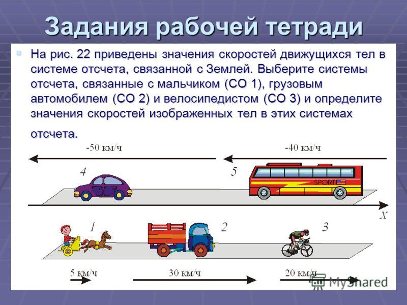 22 Задания рабочей тетради На рис. 22 приведены значения скоростей движущихся тел в системе отсчета, связанной с Землей. Выберите системы отсчета, связанные с мальчиком (СО 1), грузовым автомобилем (СО 2) и велосипедистом (СО 3) и определите значения