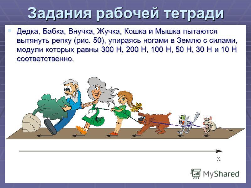 24 Задания рабочей тетради Дедка, Бабка, Внучка, Жучка, Кошка и Мышка пытаются вытянуть репку (рис. 50), упираясь ногами в Землю с силами, модули которых равны 300 Н, 200 Н, 100 Н, 50 Н, 30 Н и 10 Н соответственно. Дедка, Бабка, Внучка, Жучка, Кошка
