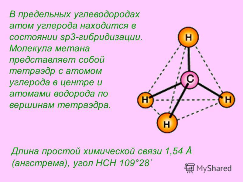 Длина простой химической связи 1,54 Å (ангстрема), угол HCH 109°28` В предельных углеводородах атом углерода находится в состоянии sp3-гибридизации. Молекула метана представляет собой тетраэдр с атомом углерода в центре и атомами водорода по вершинам