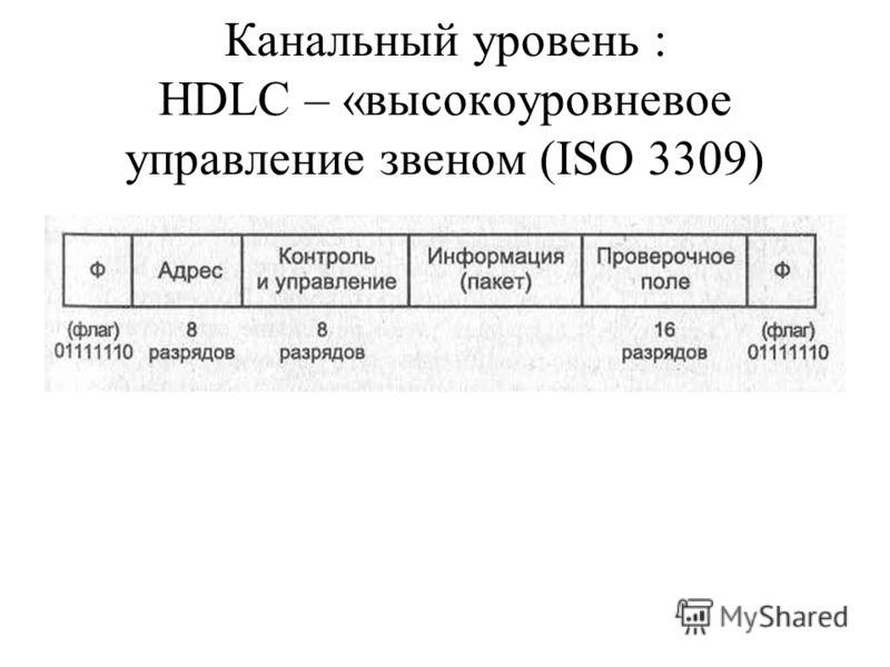 Канальный уровень : HDLC – «высокоуровневое управление звеном (ISO 3309)