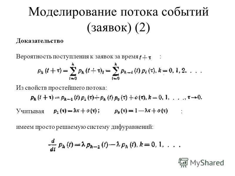 Моделирование потока событий (заявок) (2) Доказательство Вероятность поступления к заявок за время : Из свойств простейшего потока: Учитывая: имеем просто решаемую систему дифуравнений: