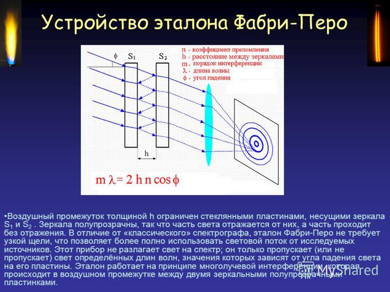 Устройство эталона Фабри-Перо Воздушный промежуток толщиной h ограничен стеклянными пластинами, несущими зеркала S 1 и S 2. Зеркала полупрозрачны, так что часть света отражается от них, а часть проходит без отражения. В отличие от «классического» спе